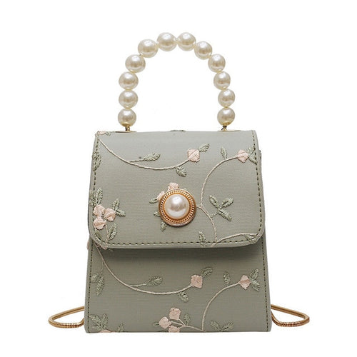 Pearl Handle Leather Crossbody Bags Flower Plattern Handbags - Nova Dream Shop