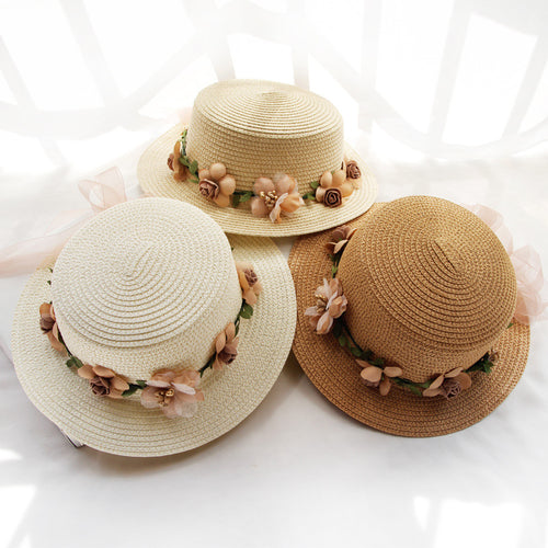 Parent-child Summer Sun Hat Bucket Flowers Ribbon Flat top Hat - Nova Dream Shop
