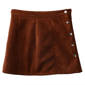 Solid Slim A-Line  Leather Mini Skirt - Irene Cheung