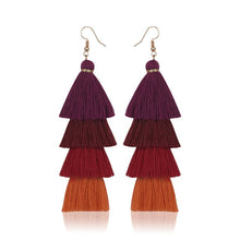 Load image into Gallery viewer, Bohemian Fringe Long Gradient Multilayer Drop Earrings - Nova Dream Shop