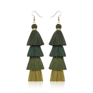 Bohemian Fringe Long Gradient Multilayer Drop Earrings - Nova Dream Shop
