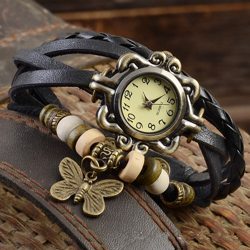 Vintage ButterflyLeather Bracelet Ladies Wrist Watch - Irene Cheung