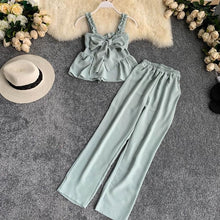 Load image into Gallery viewer, Women's Sets Clothes New Summer Spaghetti Strap Crop Tops + Loose Wide Leg Pants - Irene Cheung