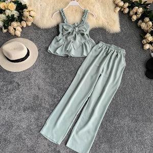Women's Sets Clothes New Summer Spaghetti Strap Crop Tops + Loose Wide Leg Pants - Irene Cheung