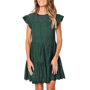 Hollow Out Ruched A-Line mini dress - Nova Dream Shop