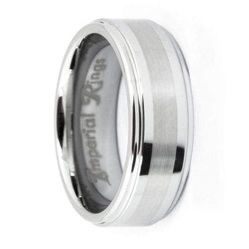 Polished Tungsten Carbide Wedding Band with Brushed In-Lay