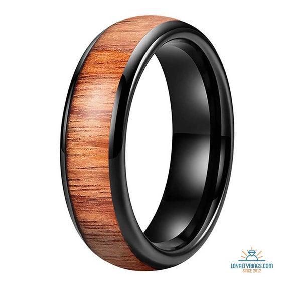 Domed Black Tungsten Carbide Ring with Koa Wood Inlay | 6mm