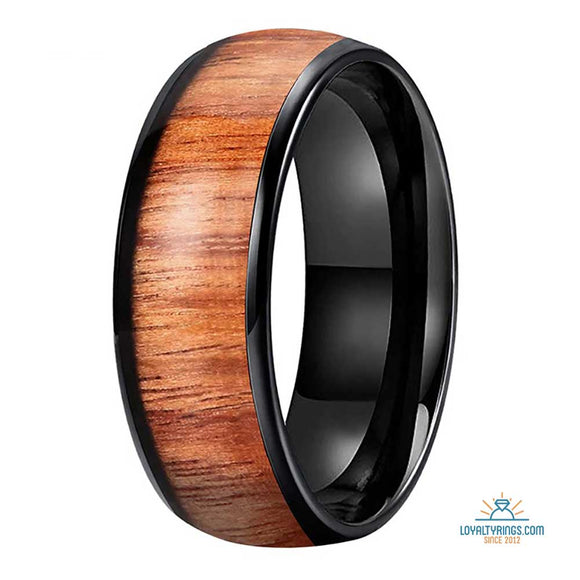 Black Domed Tungsten Carbide Ring with Koa Wood Inlay | 8mm