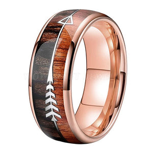 Rose Gold Tungsten Carbide and Koa Wood Ring with Arrow Inlay | 8mm