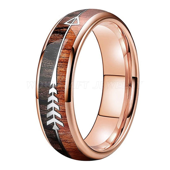Rose Gold Tungsten Carbide and Koa Wood Ring with Arrow Inlay | 6mm