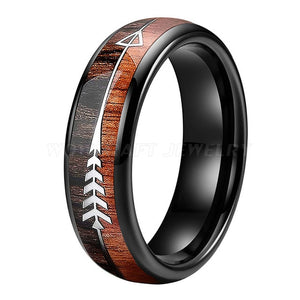 Black Tungsten Carbide and Koa Wood Ring with Arrow Inlay | 8mm