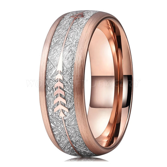 Rose Gold Tungsten Carbide with Meteorite and Arrow Inlay | 8mm