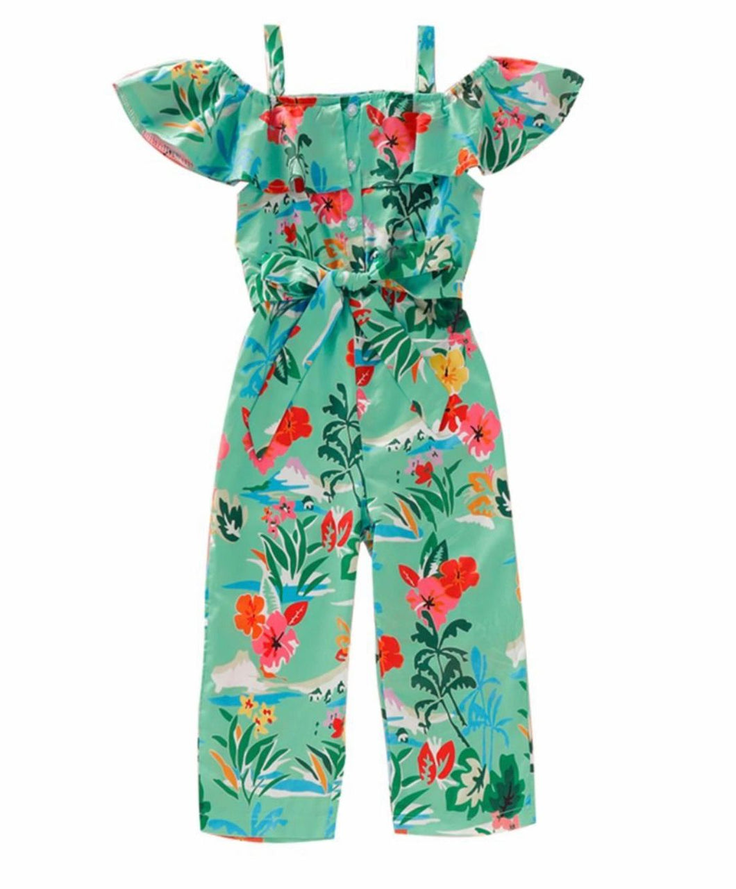 Green off the shoulder floral jumpsuit