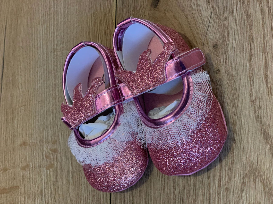 Pink sparkly crown soft sole shoes
