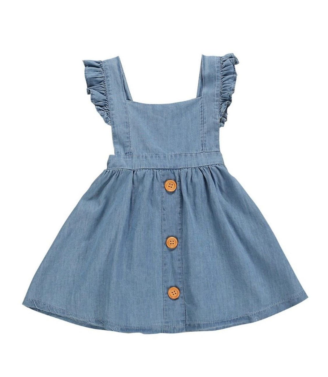 Girls ruffle sleeve backless denim style dress size 2