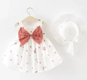 Summer polka dot dress with matching hat