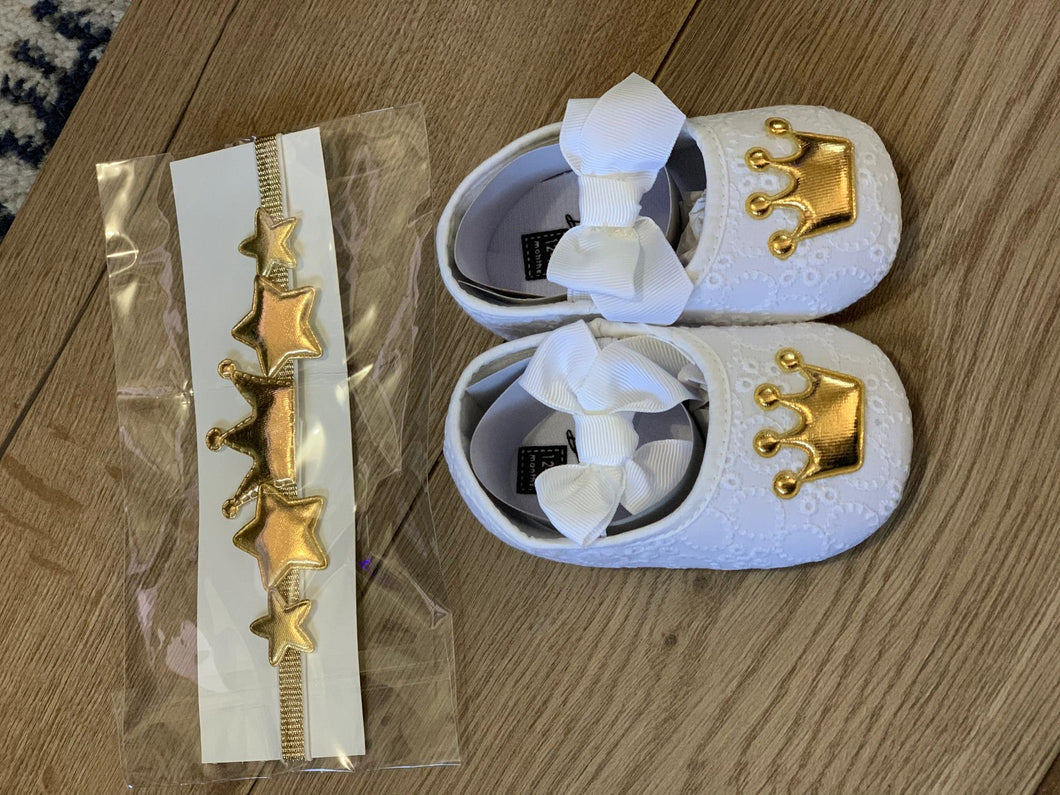 White and gold shoes with matching headband