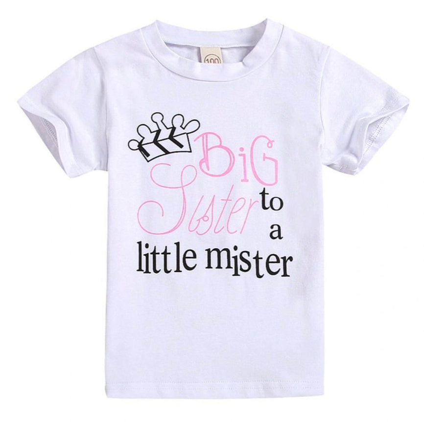 """Big sis to a little mister"" Shirt- size 5"