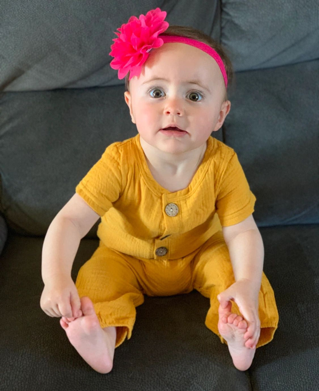 Mustard button up muslin suit