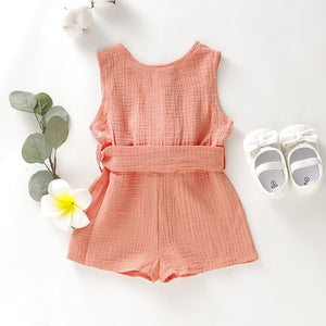 Blue and apricot short sleeve rompers