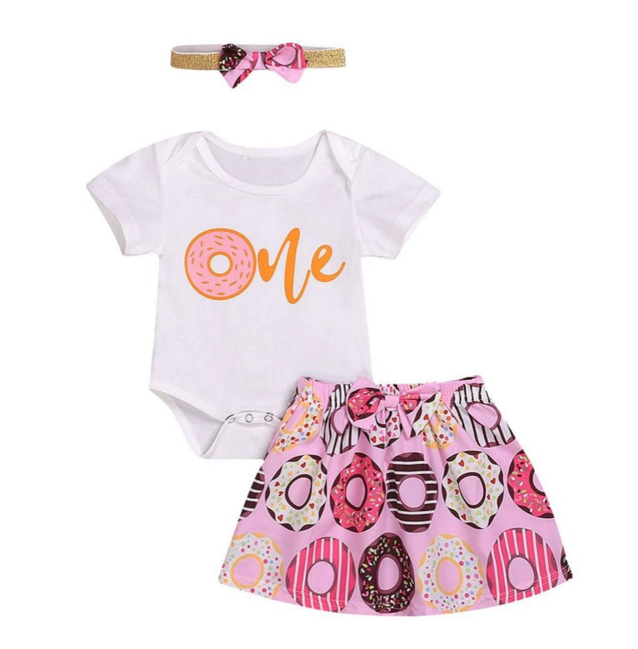 Girls first birthday outfit- donut