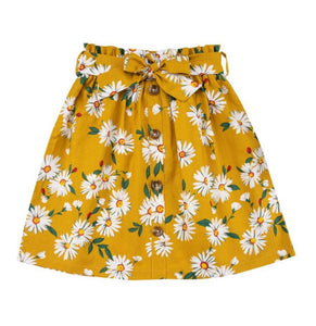 Girls yellow high-waisted floral skirt