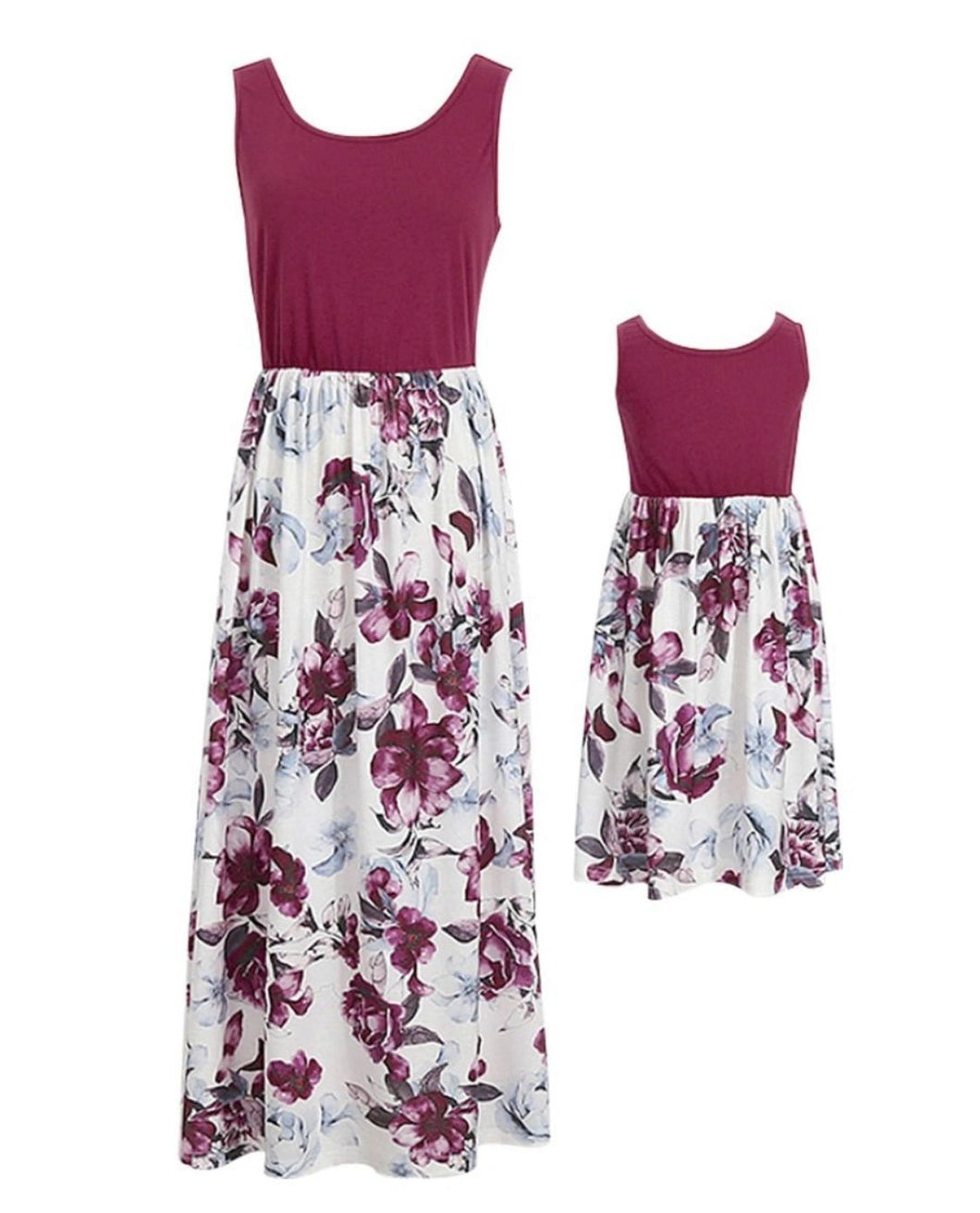 Mummy and me matching dress; maroon and white flowers