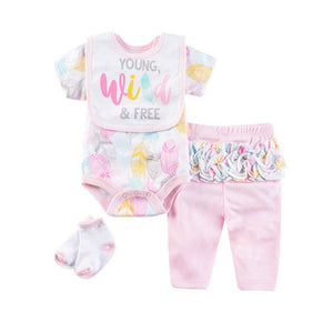 "Little girls 4 piece set- ""young, wild and free"""