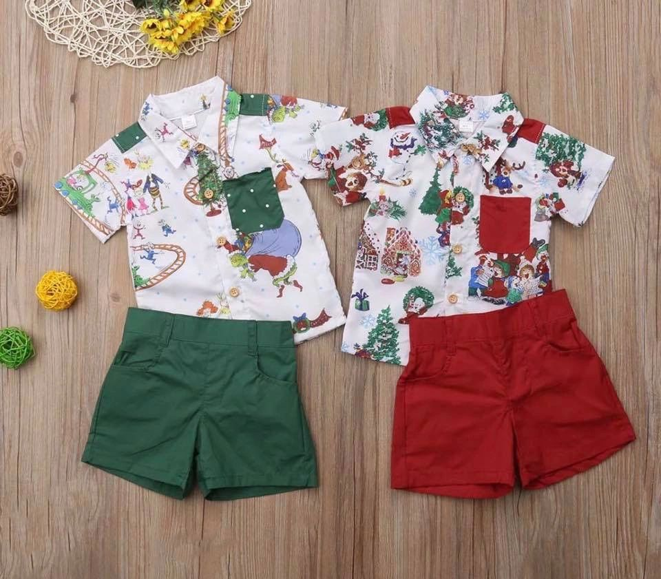 Boys Christmas set- green