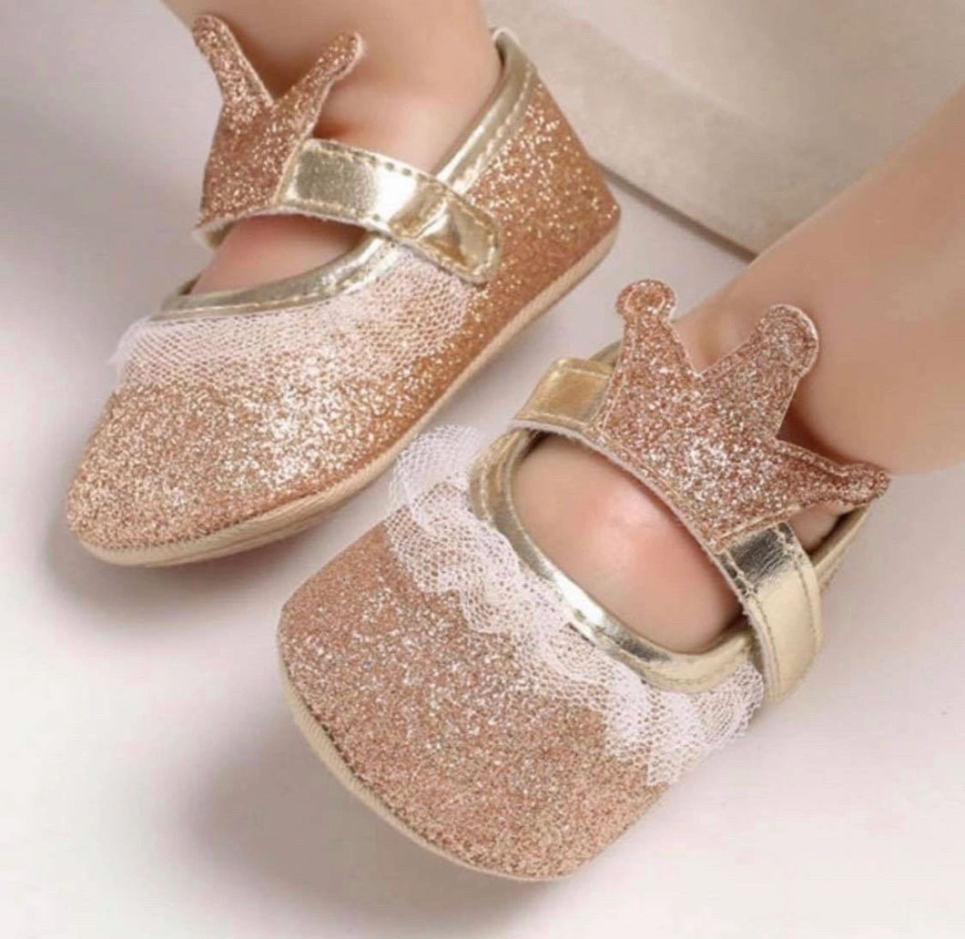 Gold soft sole crown shoes