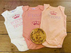 Personalised Newborn Rompers - princess