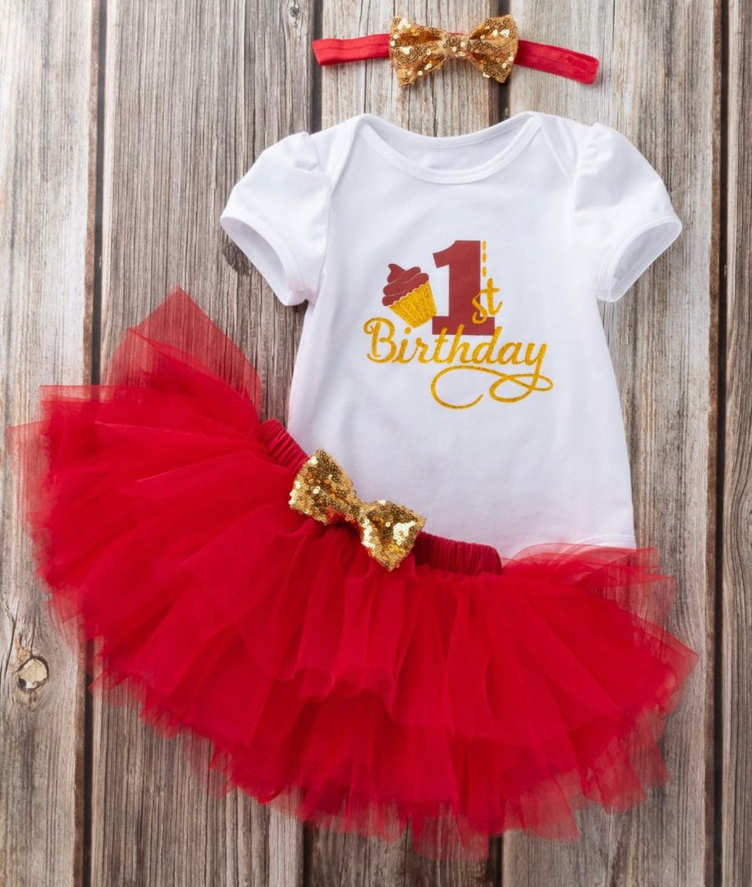 Girls 1st birthday set size 12 months - red