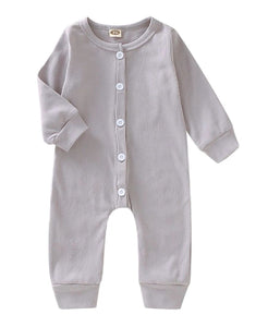 Grey ribbed button up onsie