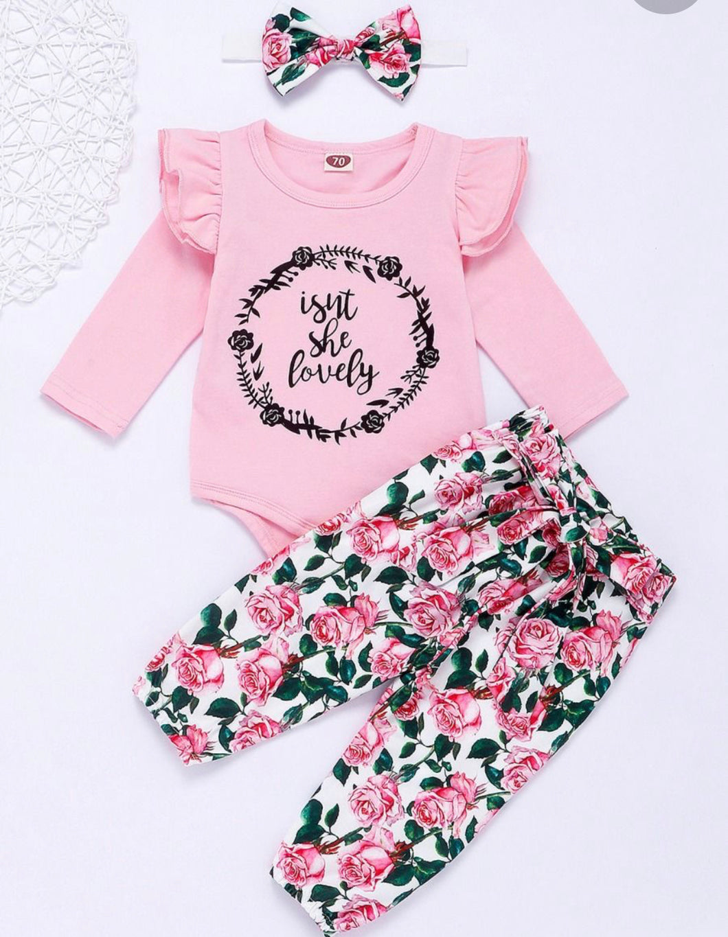 """Isn't she lovely"" three piece set- pink"