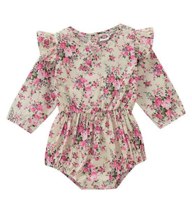 Girls gorgeous long sleeve floral romper