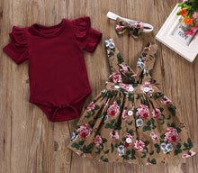 Load image into Gallery viewer, Girls three piece skirt, headband and romper set
