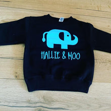 Load image into Gallery viewer, Hallie and Moo jumper personalised - other font colours