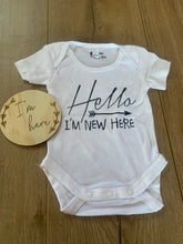 "Load image into Gallery viewer, Newborn ""I'm here"" or ""I'm new here"" romper and milestone card combo"
