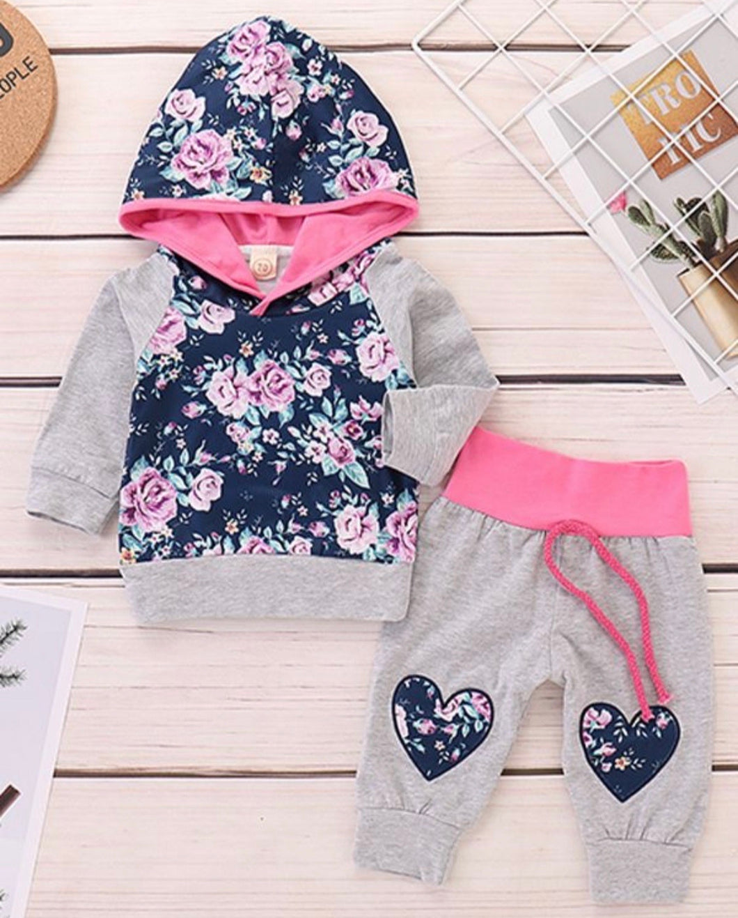 Girls tracksuit - pink, grey and floral