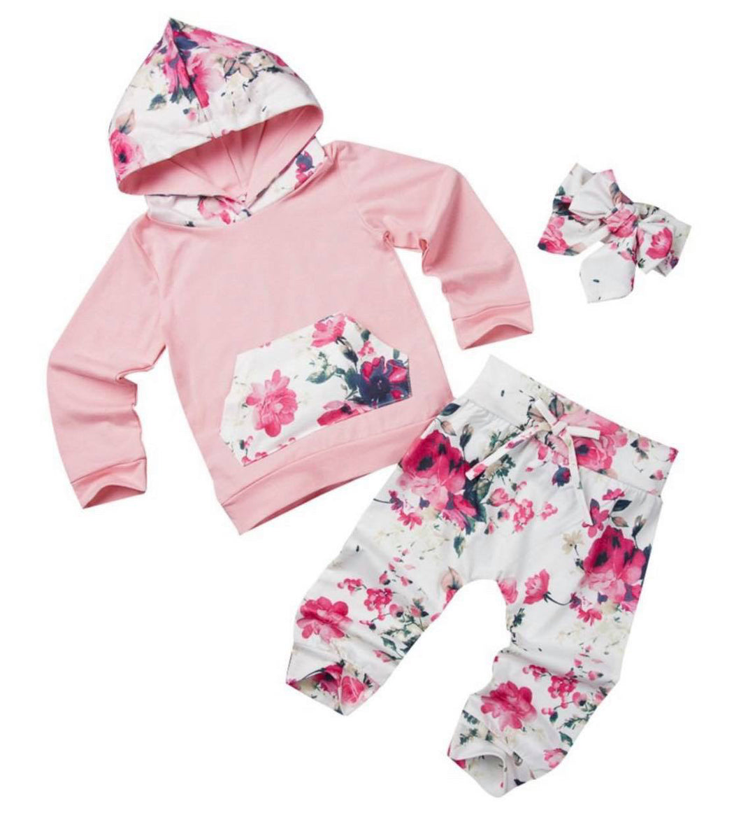 Girls tracksuit size 6 months - pink and floral