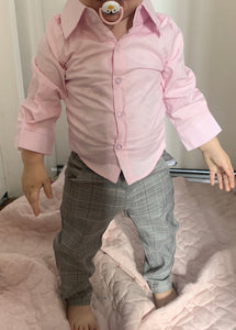 Boys pink and grey shirt, pant, vest and bow tie set