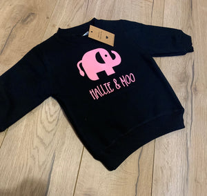 Hallie and Moo jumper personalised - other font colours