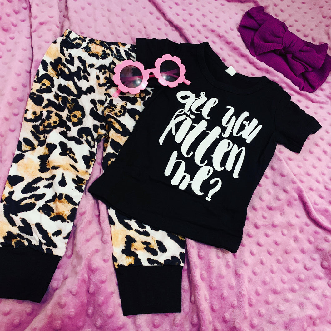 "Girls two piece set - ""are you kitten me"""