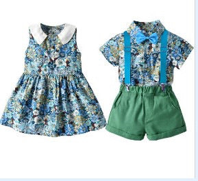 Our Jarrah Girls and boys matching outfits- green, blue and white