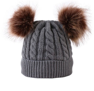New kids double Pom Pom beanies; no front tag