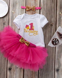 Girls first birthday set - hot pink
