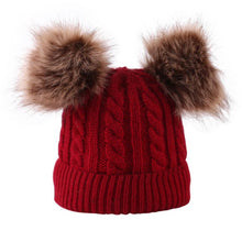 Load image into Gallery viewer, New kids double Pom Pom beanies; no front tag