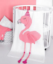 Load image into Gallery viewer, Flamingo cot blanket