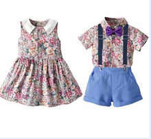 Load image into Gallery viewer, Girls and boys matching outfits/ purple pink and blue