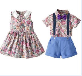 Girls and boys matching outfits/ purple pink and blue